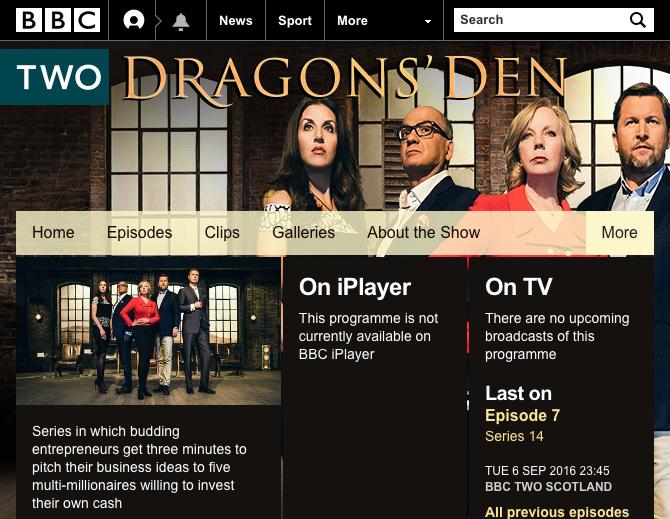 Dragons Den website