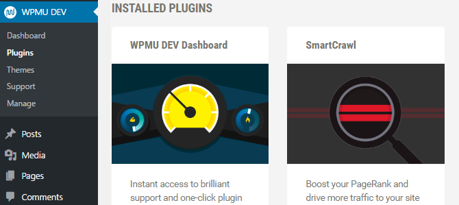 A screenshot of the WPMU DEV Dashboard with the dashboard plugin and SmartCrawl installed.
