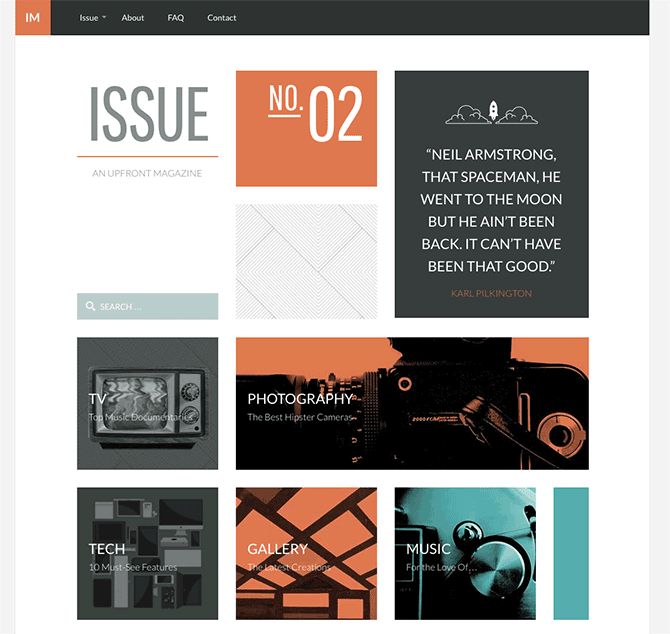 Our new magazine-inspired WordPress theme for Upfront.
