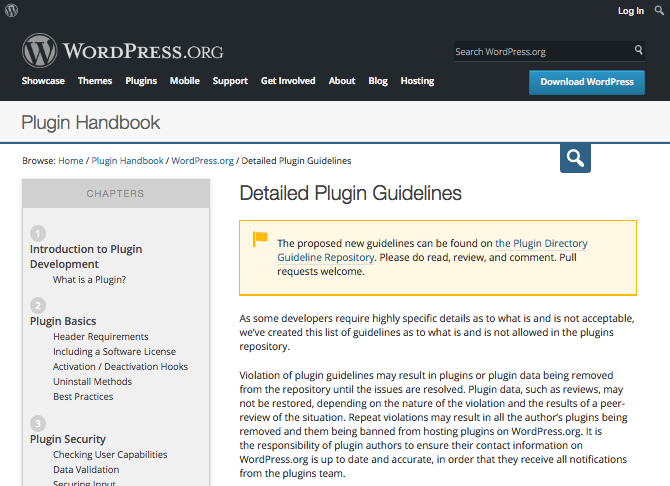 WordPress plugin guidelines