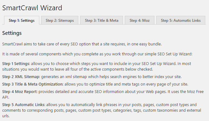 The SmartCrawl setup wizard is a 5-step menu for configuring the plugin.