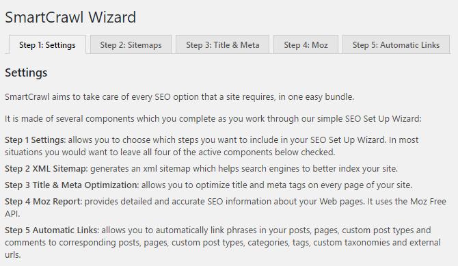 The SmartCrawl setup wizard is a 5-step menu for configuring the plugin.