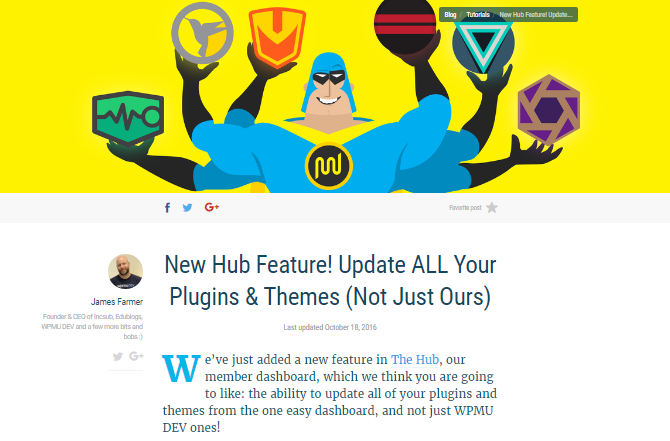 A screenshot of an article announcing that all WordPress.org themes and plugins can be updated via the hub.