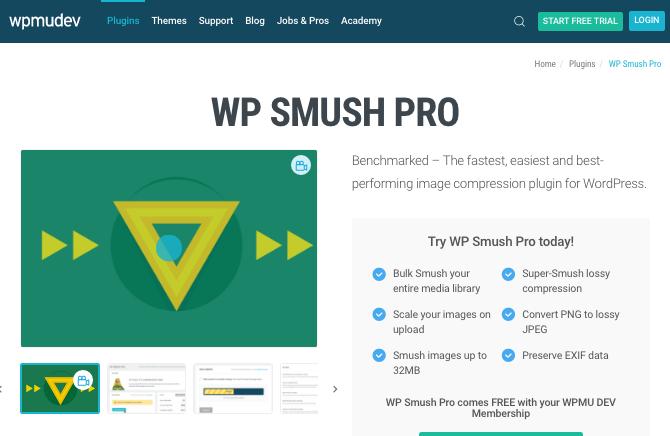 WP Smush Pro page