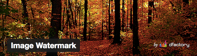 Add watermarks to your images with the aptly named Image Watermark plugin.
