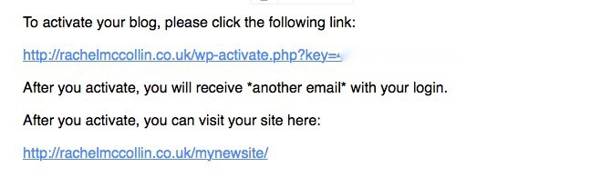 WordPress Multisite - default activation email