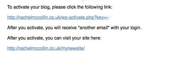 WordPress Multisite - default activation email