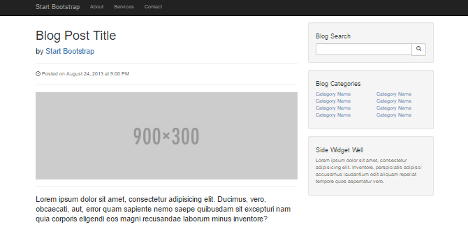 Screenshot showing the category list sidebar widget from the Blog Post template.