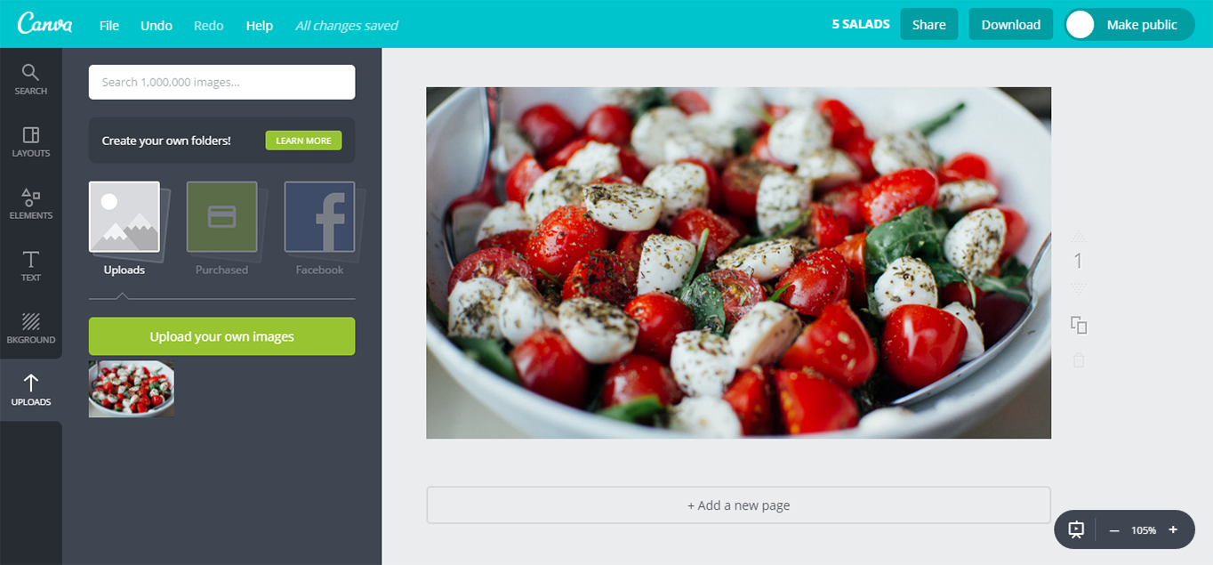 Adding a background image to Canva