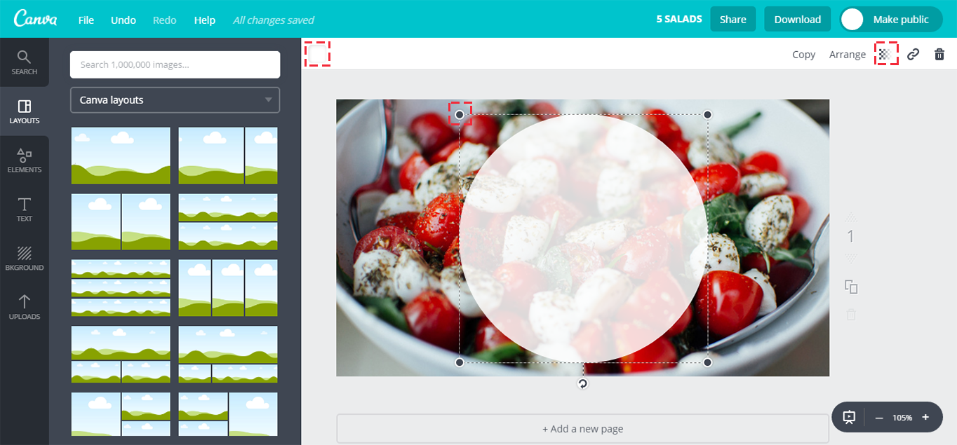 Adding a circle element to the Canva canvas