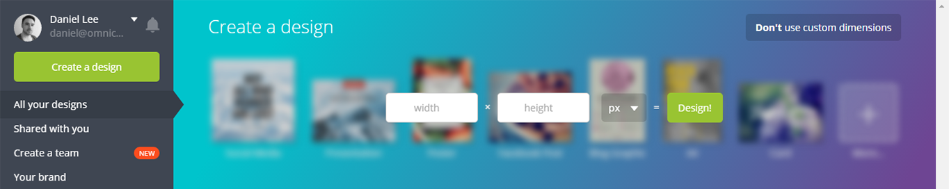 Canva dimensions options for your image