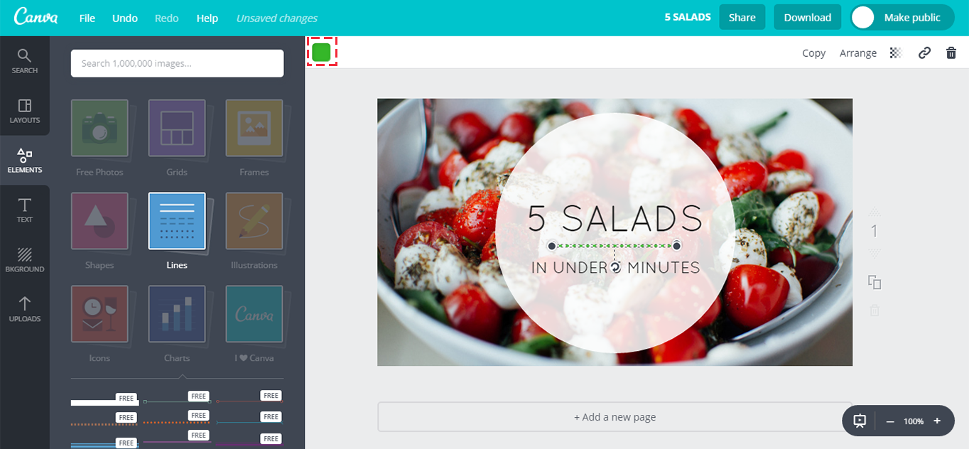 Adding a divider line to the Canva canvas