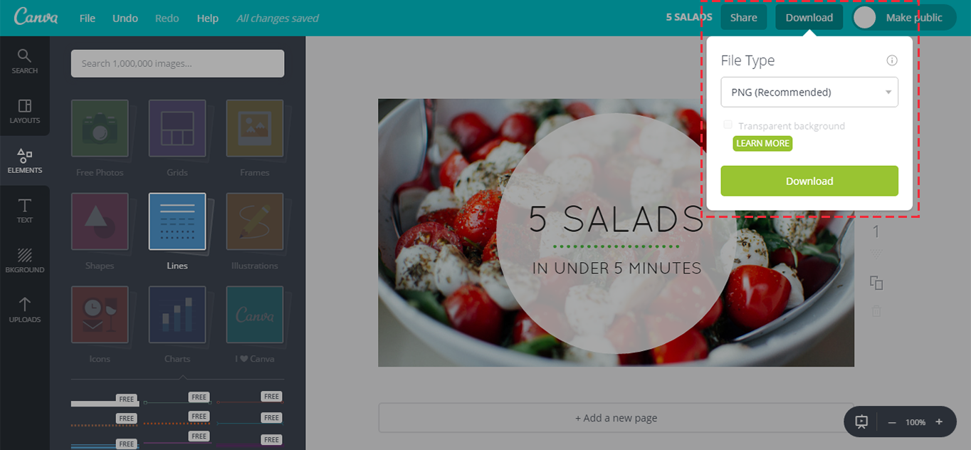 Exporting the Canva image