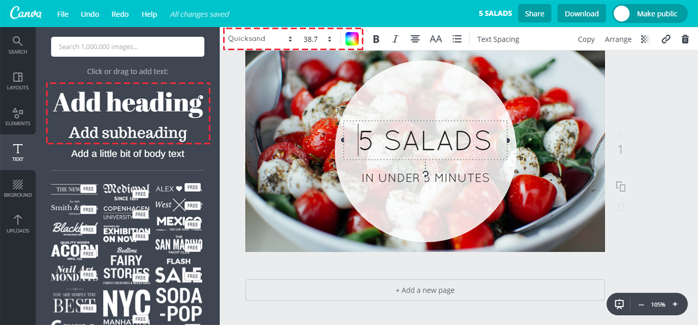 Adding text to the Canva canvas