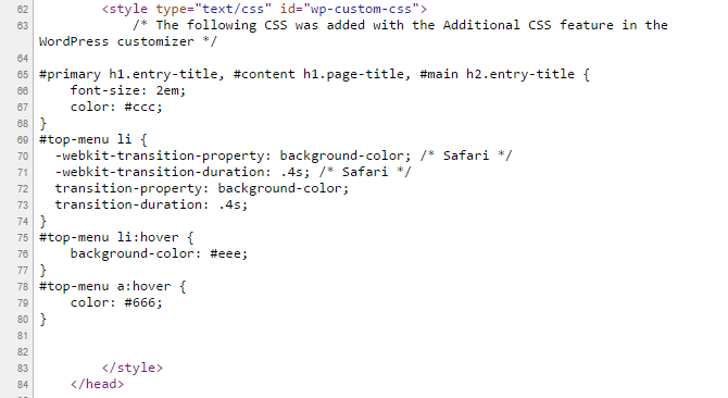 A snapshot of HTML demonstrating the the Additional CSS feature inlines CSS just before the closing head tag.
