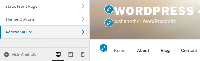 A snapshot of the WordPress customizer menu showing the new Additional CSS menu option.