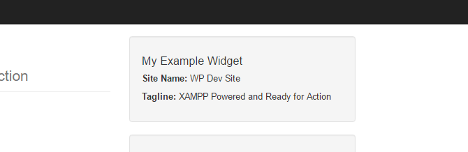 Screenshot of the example widget displayed on the site front end.
