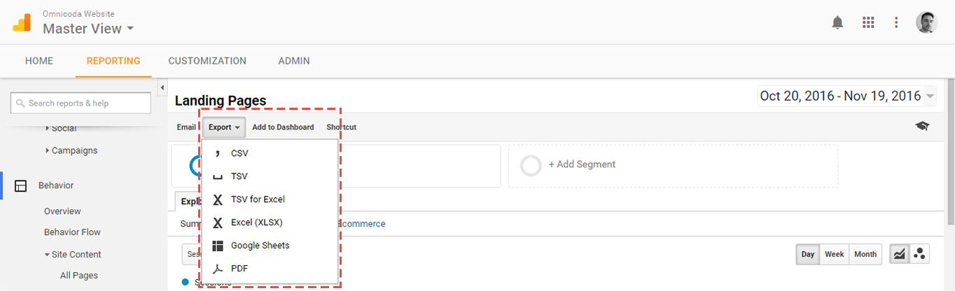 Google Analytics Landing Pages export.