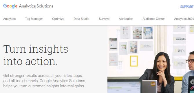 Screenshot of the Google Analytics website