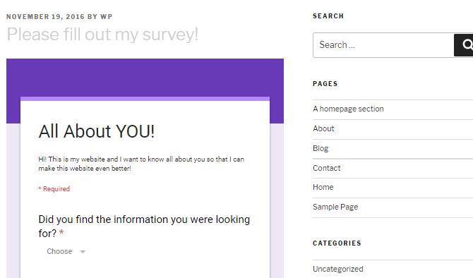 Screenshot of a Google Forms survey embedded in a WordPress website.