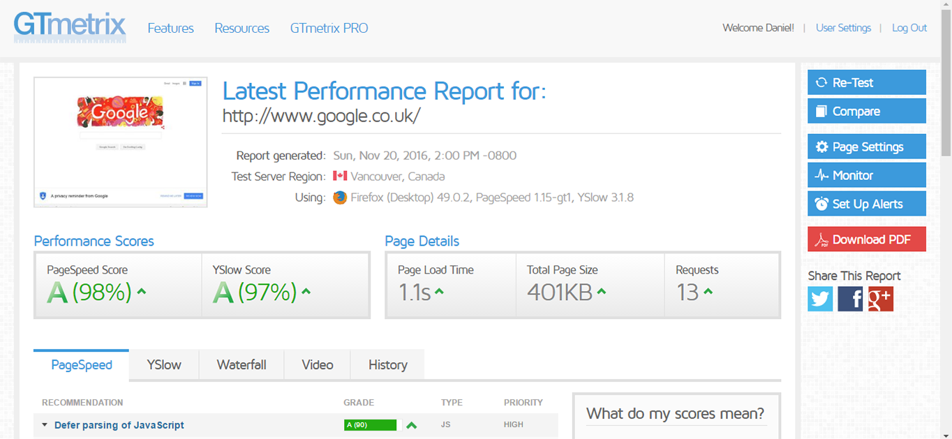 GTmetrix page speed report