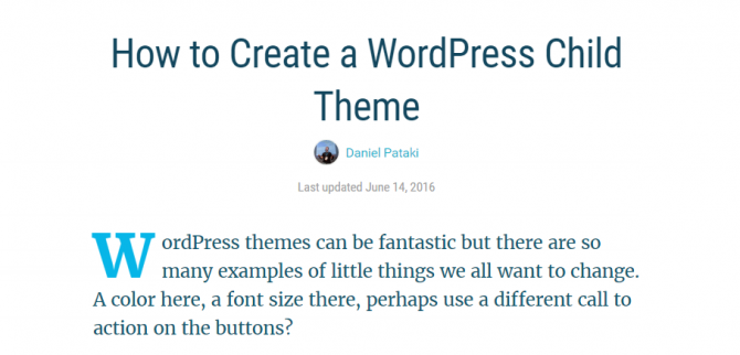 A screenshot of an article title How to Create a WordPress Child Theme