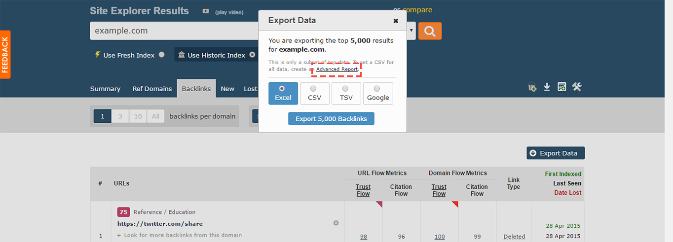 Majestic SEO export data.