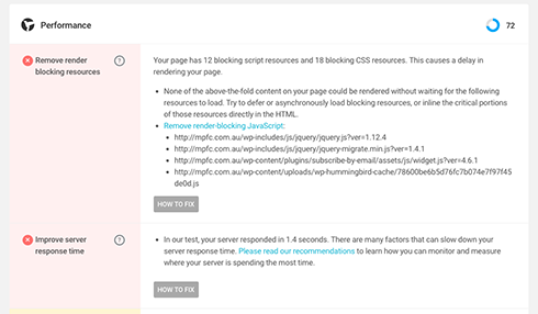 Uh oh, render blocking resources! Not to worry, though – WP Checkup knows how to fix them!