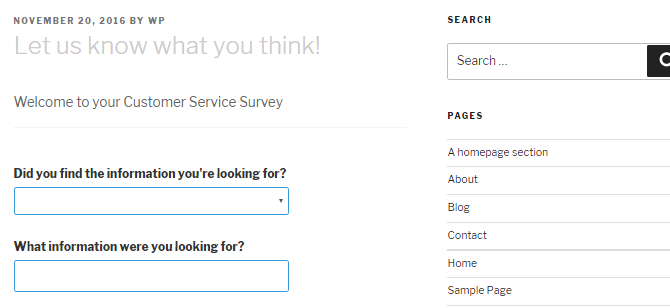 Screenshot of an embedded Quiz and Survey Master survey