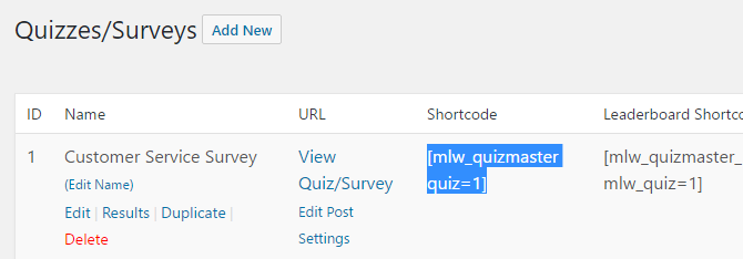 Copy the relevant shortcode and paste it into the editor of any post or page to embed the survey