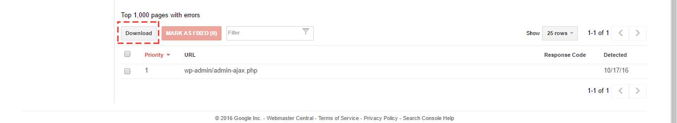 Search Console Crawl Errors download.