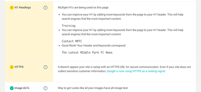 WP Checklist has picked up a few SEO issues on my site, but they're all easily fixed!