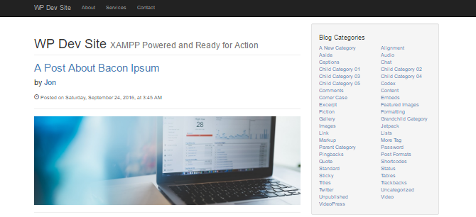 Screenshot showing the category list sidebar widget in the Simple Blog Post theme.
