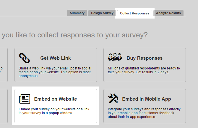 Go to the Collect Responses tab and select Embed on Website.