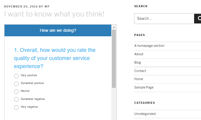 Screenshot of an embedded SurveyMonkey survey