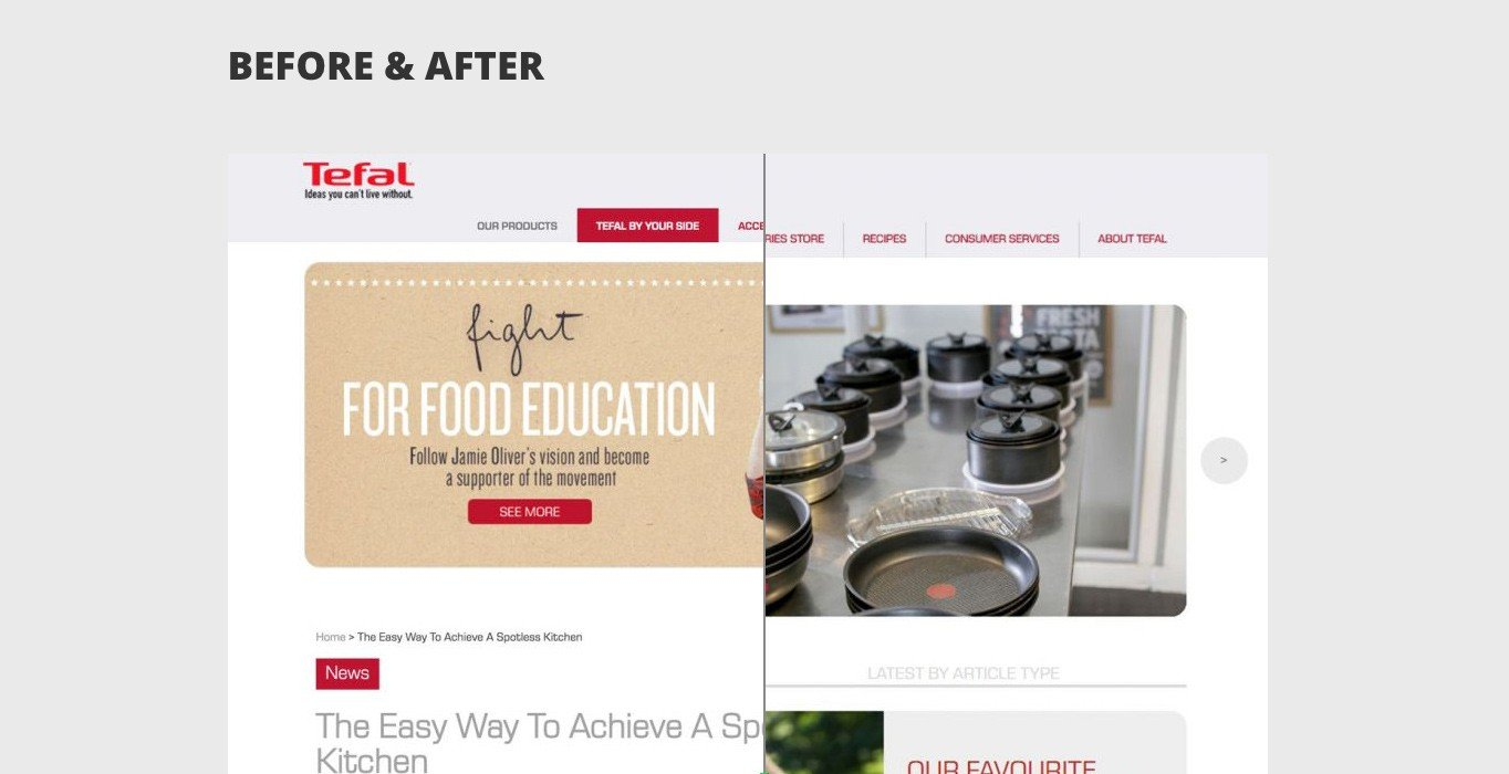 WordPress agency debunc's case study for Tefal includes a cool before and after slider.