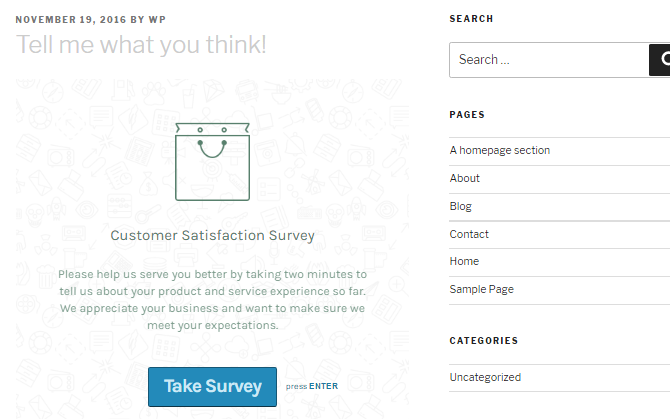 Screenshot of a WordPress website with a Typeform survey embedded
