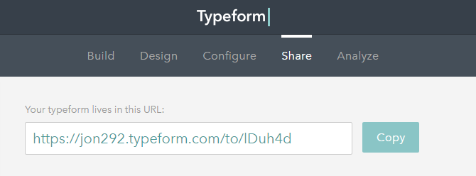Go to the Share tab to locate the Typeform survey URL.