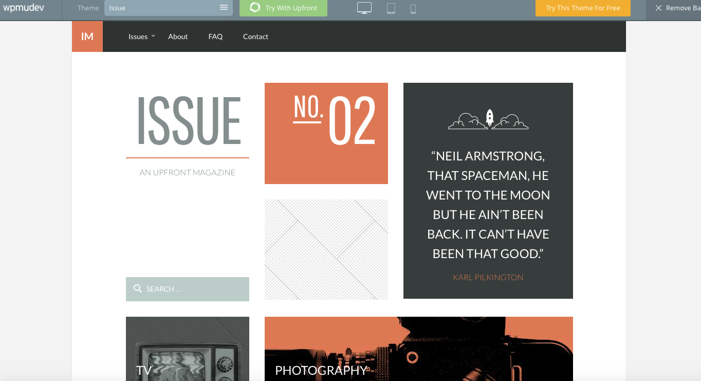 Issue premium wordpress theme live demo