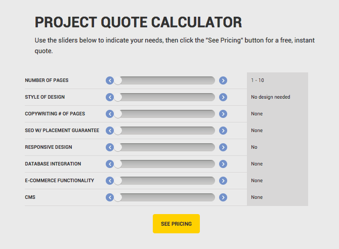 This handy calculator will help you come up with estimates for website projects, based on inputs you can adjust.