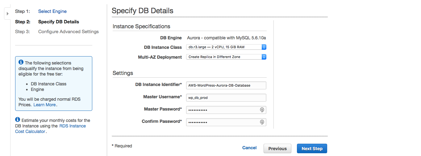 AWS Aurora database configuration.