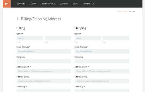 The billing/shipping page looking good with the Issues theme.