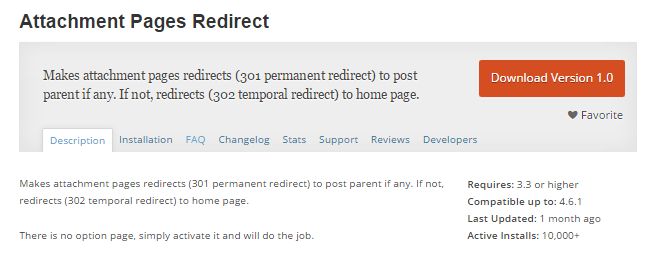 screenshot of attachment pages redirect plugin