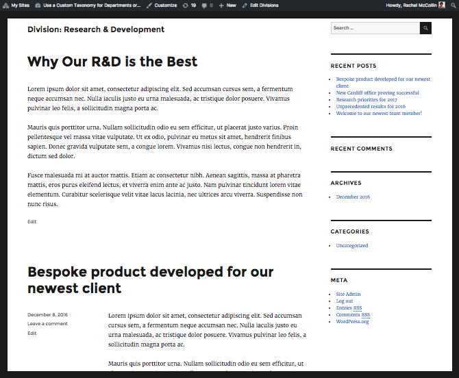Default taxonomy archive for R&D, using twenty sixteen's template file
