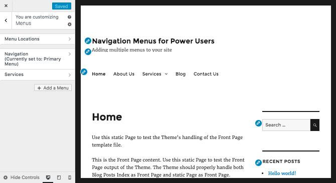 Editing menus via the customizer