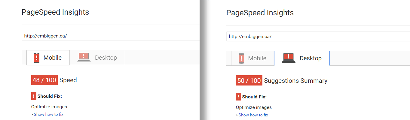 Example Google PageSpeed Insights score with a suggestion to optimize images.