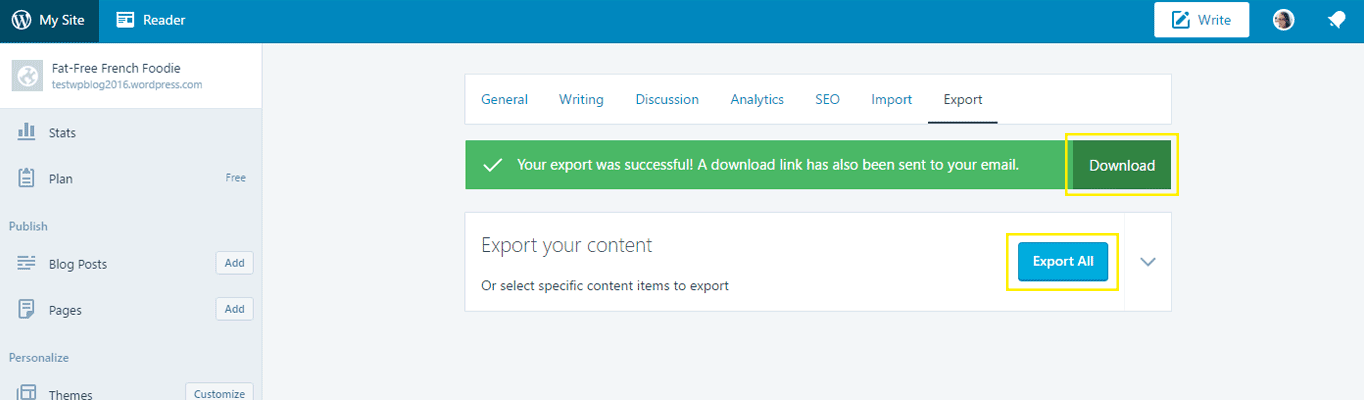 The Export page under the WordPress.com Settings tab.