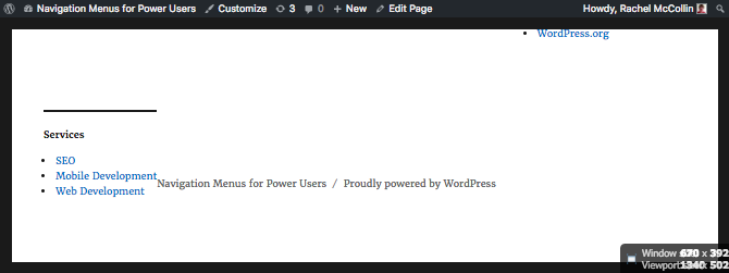 the footer menu is ;left aligned and not very wide