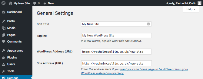 the WordPress general settings screen