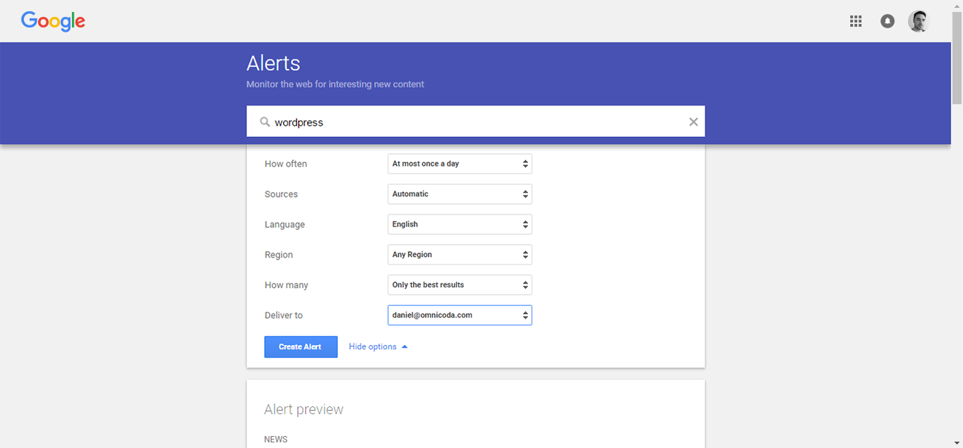 Monitor new posts using Google Alerts.